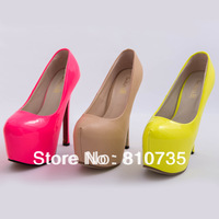 FREE SHIPPING New arrival 2013 Women Hot Sexy 16CM Ultra High Heel Pumps Nude Platform Pumps Lady Party Shoes Plus Size 35-41