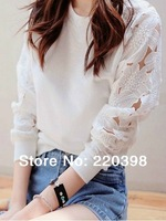 2014 New Spring Woman Clothes Fashion O-Nect Flower Lace Hollow Out Long Sleeve Pullover Basic White T Shirt Women 907