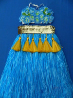 Halloween Masquerade Christmas Hawaiian grass Sequins skirt thick hula costumes sets Wedding party dancewears free shipping