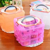Free Shipping Multifunctional plastic storage box transparent cosmetics hair accessory small jewelry box