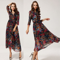 Free shipping lady new flower print chiffon long dress high quality bohemia graceful dress 2014 new arrive,S,M,L  70151