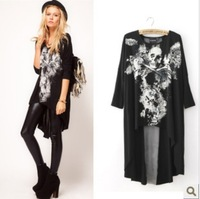 2013 Autumn Long Sleeve Women's  Top Fashionable  Punk Skull Irregular shirts  Bat-wing Sleeve chiffon T-shirt Black ZM13080102