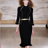 2014 High Quality Black Princess Fashion Mermaid Mid-calf Dress Stand Collar Golden Button Slim Nine Sleeve Vintage Court Dress