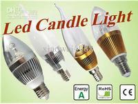 Wholesale - 100pcs/lot Good Dimmable E14 E27 B15 3W LED Candle Lamp candle light Candle LED Bulbs 85V-265V
