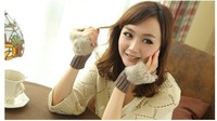 Fashion Winter Arm Warmer Fingerless Gloves, Knitted Fur Trim Gloves Mitten Free shipping