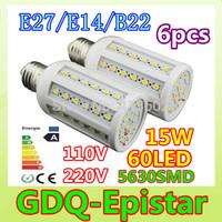 Free shipping 6pcs E27-15W-60leds-5630 SMD High Power LED Corn Light Bulb Lamp Lighting AC100-130V/200-240V Warm/Cool White