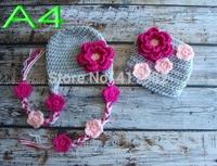 free shipping,5set/lot New Handmade Crochet Newborn Baby red flowers Hat Diaper Cover set Photo Prop