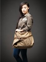 spring 2014 Vintage commercial cowhide handbag canvas + crazy horse leather shoulder bag fashion canvas casual bag