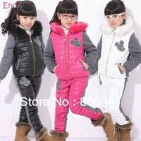 Free shipping 2013 autumn winter child winter set child sports girls parkas clothing