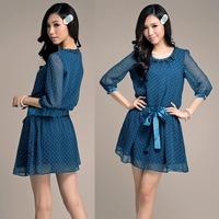 Plus size Ruffle Collar 3/4 sleeve Ribbon Slim Waist Chiffon Dresses 2014 Spring Autumn New Fashion Women Cothing 18725