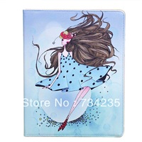 Skyblue Cute Girl Cartoon Flip Wallet PU Leather Case for iPad 2/3/4 Free Shipping
