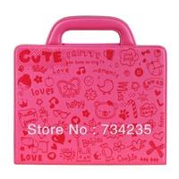 Rose Cute Embossing Flio Handbag PU Leather Case for iPad 2/3/4 Free Shipping