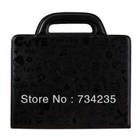 Black Cute Embossing Flio Handbag PU Leather Case for iPad 2/3/4 Free Shipping