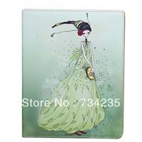 Green Cute Girl Cartoon Flio Wallet PU Leather Case for iPad 2/3/4 Free Shipping