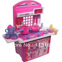 Xdq toy storage cabinet box work table kitchen toy artificial tableware box belt storage box kitchen toys