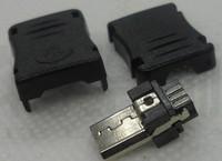 100pcs/lot  Micro usb male 5pf belt - miniusb plug shell width 9mm   FREE SHIPPING