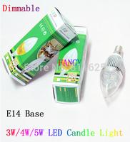 5pcs /lot  3W 4W E14  Dimmer  LED candle light / bulb lamp  Free shipping