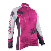 Stepful Sports Purple Rose Long Sleeve Wicking Fabric Cycling Jersey Women TOP Santic C01011