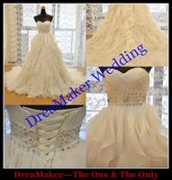DMW054 Dreamaker Sweetheart Court train Waist Crystal Beaded Ruffled Puffy Wedding Dresses Organza 2015