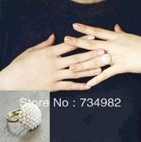Free shipping new women Retro elegant temperament mushroom head white pearl ring girl lovers' gift wholesale