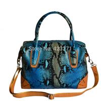 Fashion Cowhide Genuine Leather Serpentine Pattern Women's Handbag Messenger Bag Casual Shoulder Bag HB-040