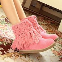 Fashion 2013 Women ankle snow boots botas hand-made knitted yarn warm winter fashion cute boots lourie flat tassel fashion boots