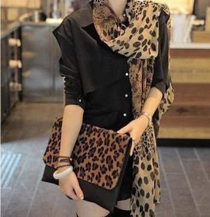 Chiffon leopard print scarf female autumn and winter silk scarf cape dual-use ultra long design long scarf spring