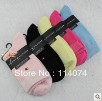 Hot sale Free Shipping(10 pairs/lot)Bamboo fibre Women's socks,In tube women cotton socks 5 colors