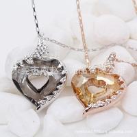6Pcs Wholesales Fashion Women Jewelry Lovey Heart W. Austrian Crystal Sparking Rhinestone CZ Pendants Necklaces Crystal Necklace