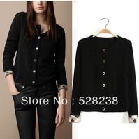 2013 autumn v neck worsted full cashmere cardigan sweater black & white free shipping