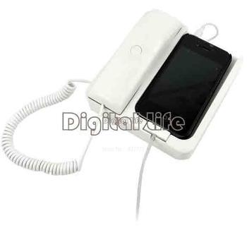 3Pcs/Lot Retro Telephone Corded Cell Phone / Mobile Phone Handset Speaker for For iPhone 4 4 3G White TK0696