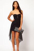 vestidos de fiesta pageant dress real autumn -summer New Sexy Bandeau Dress with Asymmetric Hem One-piece Sexy Black Women dress