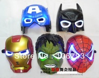 American superhero Iron Man, Batman, Hulk toys Captain America Spider-Man mask glow Flash children mask Halloween carnival Mask