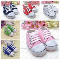 New arrival (1 pair to sell) canvas fashion sport star style baby sneaker shoes for 0-1 year 6 colors