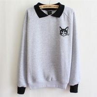 2014 Winter Women preppy style loose turndown collar sweatshirts cat pattern patchwork cotton casual hoody outerwear WH-010