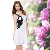 HE03312 Special Discount Ever-Pretty Black White One Shoulder Macrame Chiffon Cocktail Dress