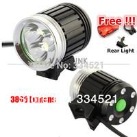 One Day Shipping!!! 3800 Lumens CREE XM-L 3 * T6 LED Bike Light HeadLight headLamp Bike cycling with Free Rear Light