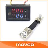 Small Red/Blue LED Digital Voltmeter Amperemeter With Shunt Resister 100V/A DC Electric Meter #100046