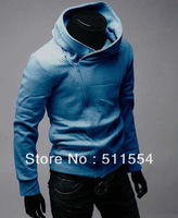 2013 New Style Assassins Creed Outerwear Oblique Zipper with a Hood Sweatshirt Slim Sweatshirt Mens Hoodie 5 sizes
