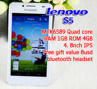 Top Sell Lenovo S5 MTK6589 Quad Core Android 3G Smart Phone 4.8'' Dual Sim Cards 2.0MP/8MP GPS SMART PHONE