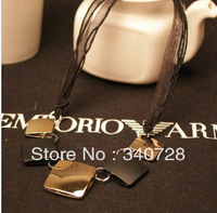 2013 Fashion Gold Mental and Black Square Pendant With Silk Colar Short lane Pendat Necklace Choker for Women