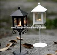 Old European Iron Glass Art Street Light Lantern Black White London Kiosk Shape Hurricane lamp Romantic Valentine Candle Holder