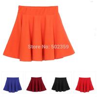 Free shipping midi high waist skirt 2014 solid cute color women pleated above knee mini skirt  fashion women 2014  NZ-0400