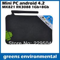 Free Shipping smart dual core android 4.2 mini tv box pc MK821 CPU RK3066 DDR3-1GB, HDMI Wifi