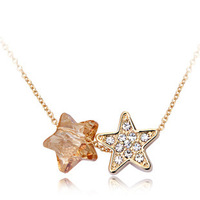 Good Style 18K Rose Gold Pendant Neckalce With Austrian Crystal Never Fade Anti-allergy Double Five-Pointed Star Shinning CZ