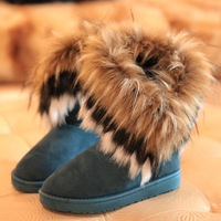 New arrival fashion winter warm flat heels solid snow boots blue black khaki