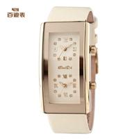 Baidi brand fashion women watches luxury Japan quartz movt two time zone zircon diamond genuine leather wrist watches free ship
