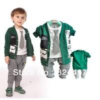 Free Shipping 2013 Baby/Children's spring, autumn Clothes Sets Cotton T shirt+coats+ pant 3 PC Sets Fashion Clothes Suit