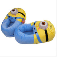 "Free shipping 11"" 3D Despicable Me Minion Stewart Figure Shoes Plush Toy Slipper One Size Doll"