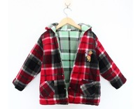 Newest 2013 baby girls both sides can wear coat kids plaid thick coat toddllers bear hooded outwear free shipping